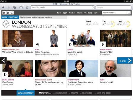 BBC landscape on iPad