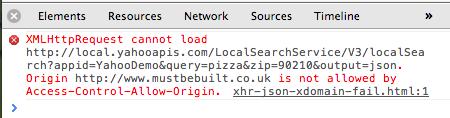 Cross Domain Fail Message