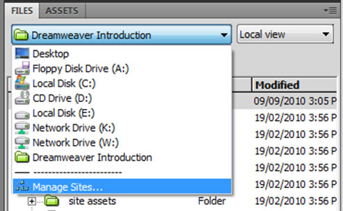 Dreamweaver Files Panel