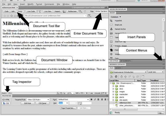 Dreamweaver Interface
