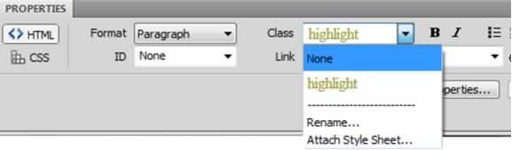 HTML Properties Inspector