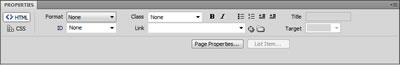 Dreamweaver HTML Property Inspector